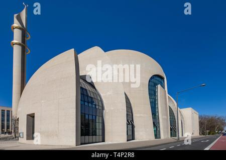 Mosque, DITIB Central Mosque, Cologne, Rhineland, North Rhine-Westphalia, Germany - Stock Image