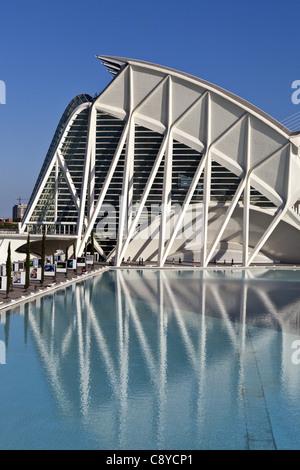 Príncipe Felipe Science Museum, City of sciences and arts by architect Santiago Calatrava  - Stock Image