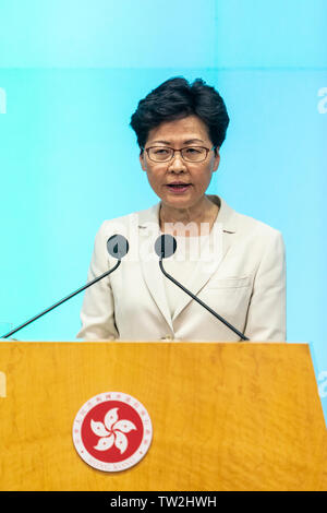 Hong Kong Chief Executive Carrie Lam speaks during a press conference at the government headquarters in Hong Kong. Carrie Lam apologised for the political unrest sparked by a proposed Beijing-backed law that would have allowed extraditions to mainland China. - Stock Image