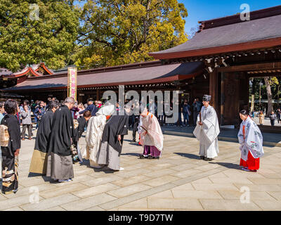 24 March 2019: Tokyo, Japan - Part of a traditional Shinto marriage ceremony at the Meiji Jingu shrine in Tokyo. - Stock Image