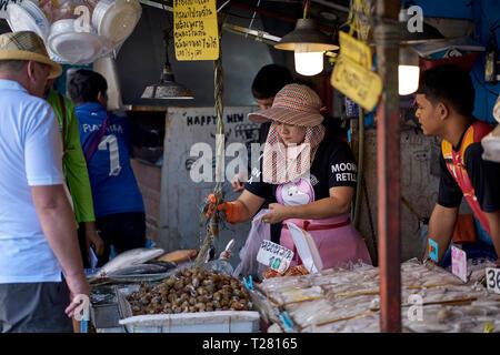Thailand food market vendor. Thai seafood market, Pattaya, Thailand, Southeast Asia - Stock Image