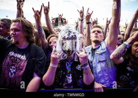 Copenhagen, Denmark. 21st June, 2019. Copenhagen, Denmark - June 21st, 2019. Heavy metal fans attend a live concert with the Danish death metal band Baest during the Danish heavy metal festival Copenhell 2019 in Copenhagen. (Photo Credit: Gonzales Photo/Alamy Live News - Stock Image