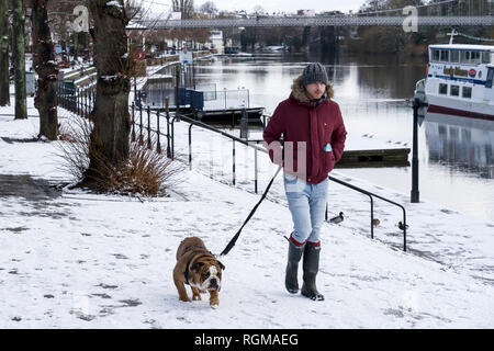 Chester, Cheshire, UK. 30th December 2018. A man walks his dog at The Groves alongside the River Dee in the city centre. Credit: Andrew Paterson/Alamy Live News - Stock Image