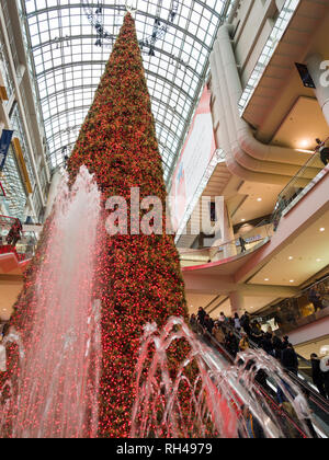 Fountians and a Large Artificial Christmas Tree at the Eaton Centre: A huge, perfectly conical tree, framed by fountians and decorated with red and white lights is a Christmas center pieces in this busy toronto mall. - Stock Image