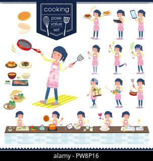 A set of Childminder women about cooking.There are actions that are cooking in various ways in the kitchen.It's vector art so it's easy to edit. - Stock Image