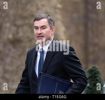London, UK. 26th March 2019, David Gauke MP PC, Justice Secretary, arrives at a Cabinet meeting at 10 Downing Street, London, UK. Credit: Ian Davidson/Alamy Live News - Stock Image