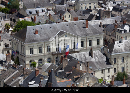 Chinon, France. Picturesque aerial view of Chinon with the Mairie (Town Hall), at Place du Général de Gaulle, in the centre of the image. - Stock Image