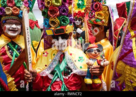 One of the oldest costumes of el Carnaval de Barranquilla, originated as a native dance war of Congo - Stock Image
