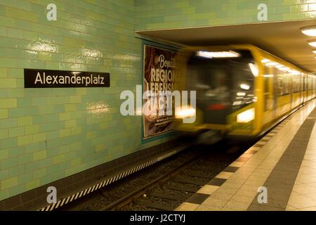 Germany, Berlin. Train arriving at Alexanderplatz subway station. Credit as: Wendy Kaveney / Jaynes Gallery / DanitaDelimont.com - Stock Image
