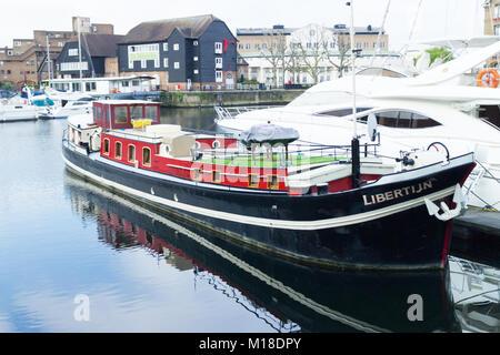 Boats at Limehouse Basin,  London - Stock Image