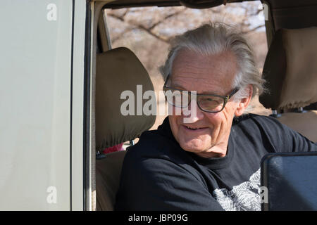 Portrait of Iain Douglas Hamilton founder of Save the Elephants or STE, taken in the Buffalo Springs Game Reserves - Stock Image