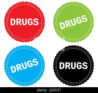 DRUGS text, on round wavy border stamp badge, in color set. - Stock Image