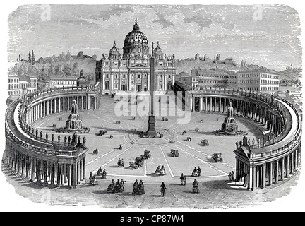St. Peter's Basilica and St. Peter's Square in Vatican City, Rome, Italy, historical engraving, 19th Century, - Stock Image