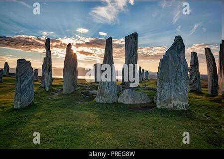 Autumn evening at the stone circle at Callanish, Isle of Lewis, Western Isles, Outer Hebrides, Scotland, UK - Stock Image