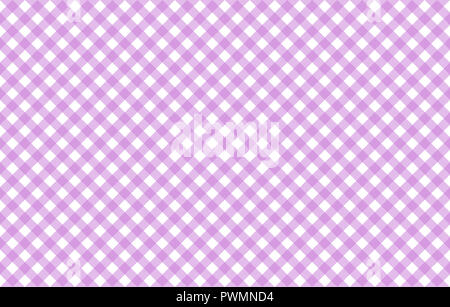 Diagonal Gingham-like table cloth with lavender and white checks, symmetrical overlapping stripes in a single solid color - Stock Image