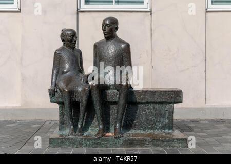 'Hyldemor', bronze sculpture by Hanne Varming, 1989; Kultorvet, Copenhagen, Denmark - Stock Image