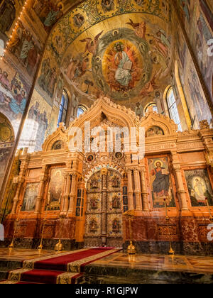 18 September 2018: St Petersburg, Russia - The ornate golden iconostasis or altar screen, Church of the Saviour on Spilled Blood, so called because it - Stock Image