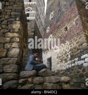 Young man Hajjara Yemen - Stock Image