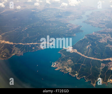 An aerial view of Yavuz Sultan Selim Bridge under construction on the Bosphorus in Istanbul Turkey - Stock Image