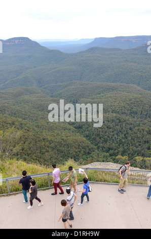 KATOOMBA, Australia - Tourists at Echo Point Lookout in the Blue Mountains in Katoomba, New South Wales, Australia. - Stock Image