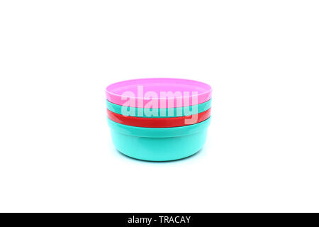 group plastic bowl on isolated - Stock Image