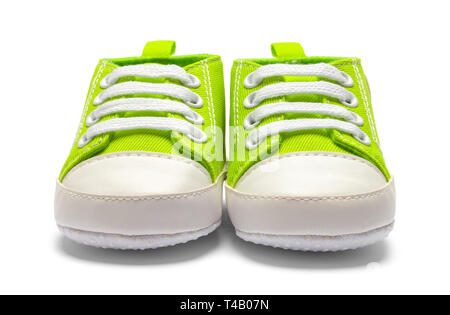 Pair Of Green Baby Shoes Front View Isolated on White Backround. - Stock Image
