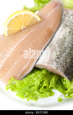 Fresh salmon fillets with lemon and lettuce - Stock Image