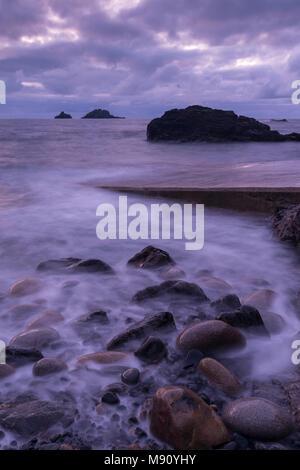 Twilight over Priest's Cove on the Cornish Coast near Cape Cornwall, Cornwall, England. Autumn (November) 2017. - Stock Image