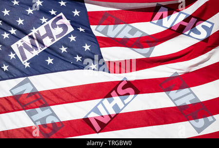 NHS (National Health Service) logo on stars and stripes flag. USA/United States of America UK trade deal/Brexit concept image. - Stock Image