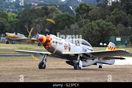 Stewart S-51D Mustang 70% scale replica plane at Tyabb airshow, Australia, 2016. - Stock Image