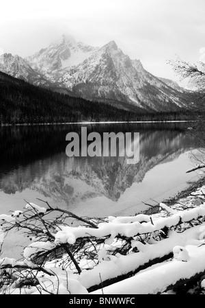 lake stanley sawtooth mountains idaho - Stock Image