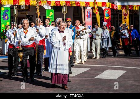 Attendants at head of the Solemn Procession, Fiesta de Santa Fe, Santa Fe, New Mexico USA - Stock Image
