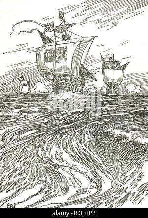Sailing ships of Christopher Columbus - Stock Image