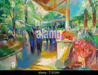 Painting promoting the Tomato Festival, farmer's market, Kingdom of Bahrain - Stock Image