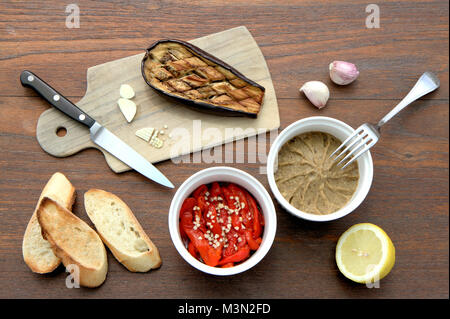Roasted eggplant caviar dip - Stock Image