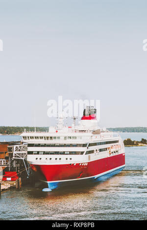 Large Cruise ship passenger transportation scandinavian vacations outdoor - Stock Image