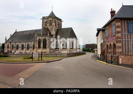 L'eglise Saint-Martin (church of St Martin) in Vatteville la Rue, Siene Maritime, north Normandy, France - Stock Image
