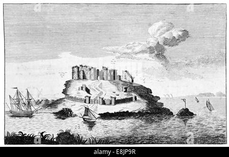 A View of st Samson's Castle in  Bailiwick of Guernsey Channel Islands circa 1760 - Stock Image