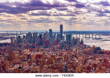 New York city, USA, urban skyline of the downtown district. Aerial view. Color filters have been applied for creative purposes - Stock Image