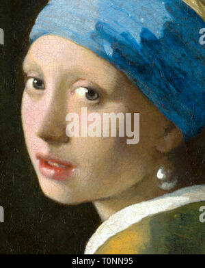 Johannes Vermeer, Girl with a Pearl Earring, detail, c. 1665 - Stock Image