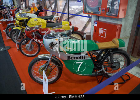 Benelli motorcycle vintage grand Prix, Retro Málaga 2019. Spain. - Stock Image