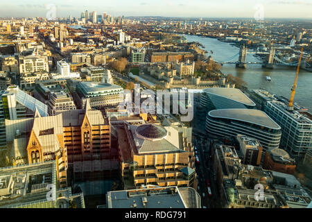 Elevated view of part of London, from the centre looking east towards Canary Wharf. Overlooking St Dunstan's Church, The Tower of London, Tower Bridge - Stock Image