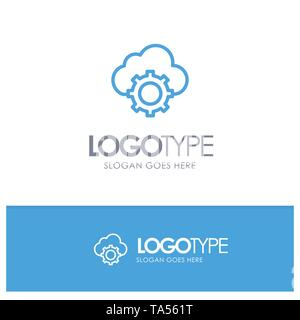 Cloud, Cloud-Computing, Cloud-Settings Blue outLine Logo with place for tagline - Stock Image