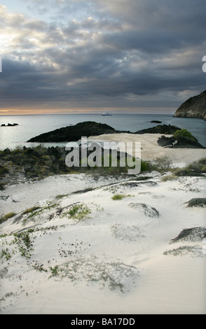 Sunset from Cerro Brujo Beach, San Cristobal Island, Galapagos Islands, Ecuador, South America. - Stock Image