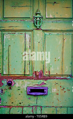 Old Green painted Door, Culgaith, Cumbria, England - Stock Image