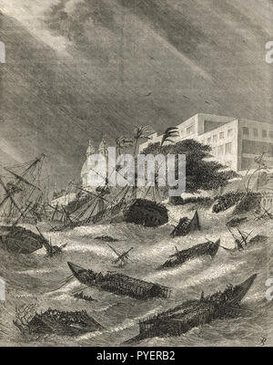 Cyclone in Calcutta, present day Kolkata, India, 1876, the Great Backerganj Cyclone of 1876 - Stock Image