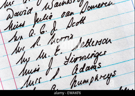 Close-up of a handwritten list of names in an old accounts book - Stock Image