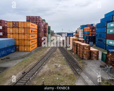 Container stack,  Hamburg harbor, Germany - Stock Image