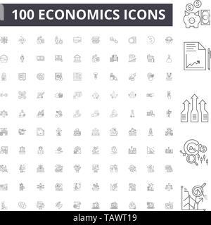 Economics line icons, signs, vector set, outline illustration concept  - Stock Image