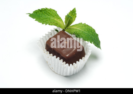 A small packaged chocolate treat with a sprig of mint leaves, - Stock Image